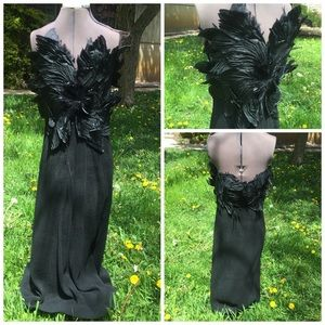 VTG 60s Evening Gown with Feather Bodice